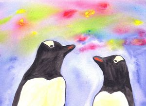 penguins under night sky