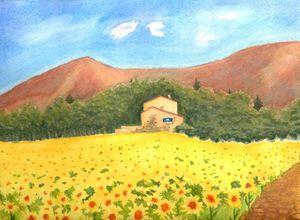 sunflower field cottage