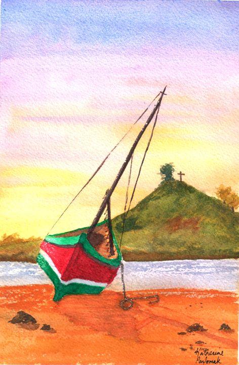 red boat low tide - SheepyShakeShack