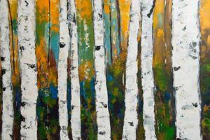 Birch Aspen Trees Original Painting