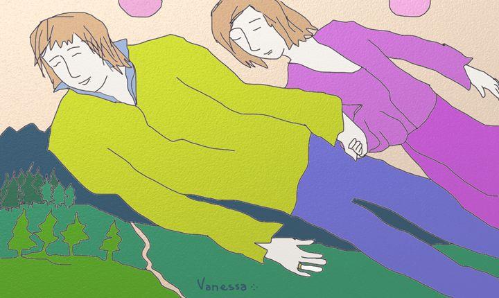 Flying Couple With Double Sun - Vanessa Schlachtaub Bruni