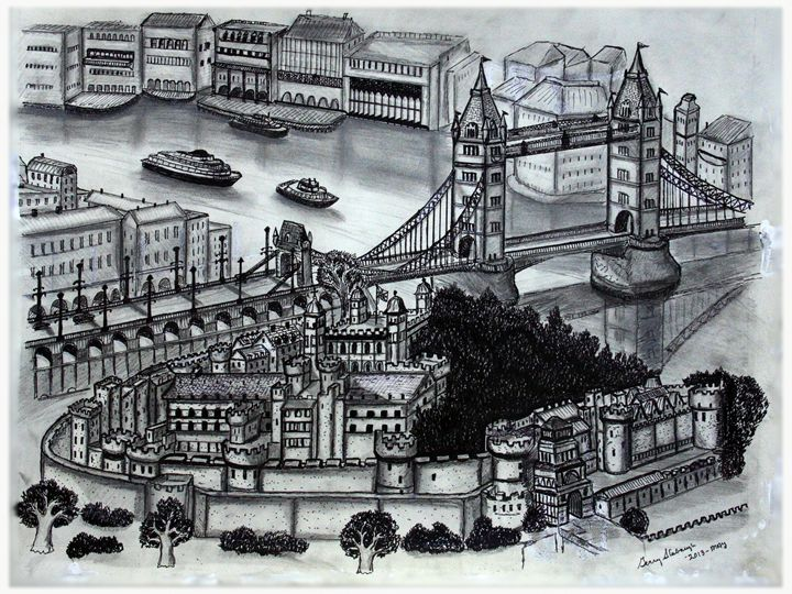 TOWER OF LONDON & BRIDGE PEN & INK - Gerry Slabaugh Photography
