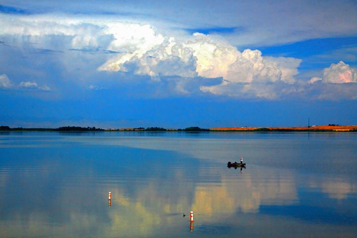 FISHING ON A COOL LAKE ON A HOT DAY - Gerry Slabaugh Photography