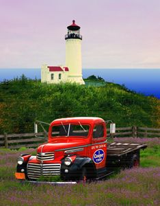 OLD GMC TRUCK & LIGHTHOUSE