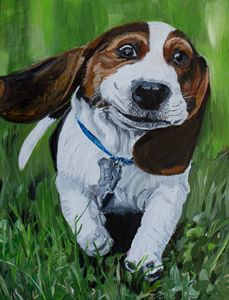 Running Beagle Puppy - MKDL Paintings and More