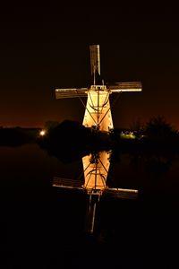 Windmill by night at Kinderdijk