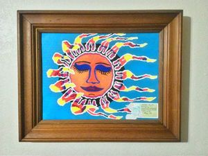 """THE SLEEPING SUN"" Upcyled Painting"