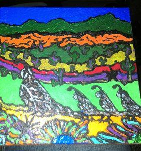 """THE QUAIL WALK"" 6""X6"" Painted Tile"