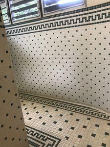 The tiled bathroom