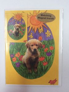 Playful Pup with matching magnet