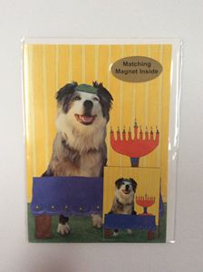 Dog's Hanukkah with matching magnet
