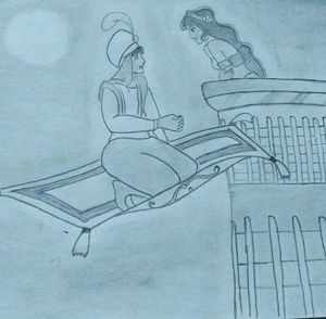 Aladdin and Jasmine at midnight
