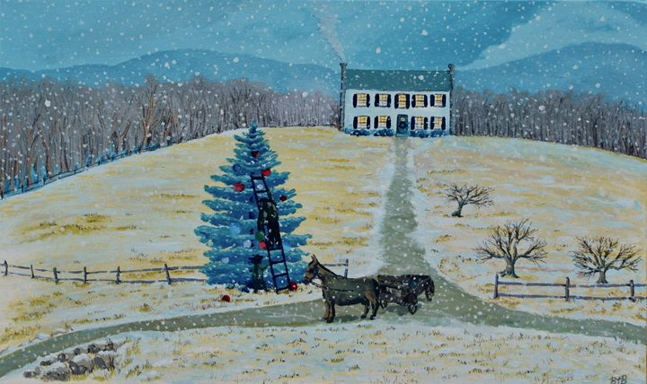 A New England Farm at Christmas - Brett Paints