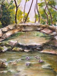 A Stone Bridge, watercolor/pen