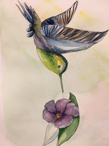 Bird and Flower, watercolor/pen