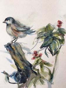 A Bird Painting, watercolor/pen