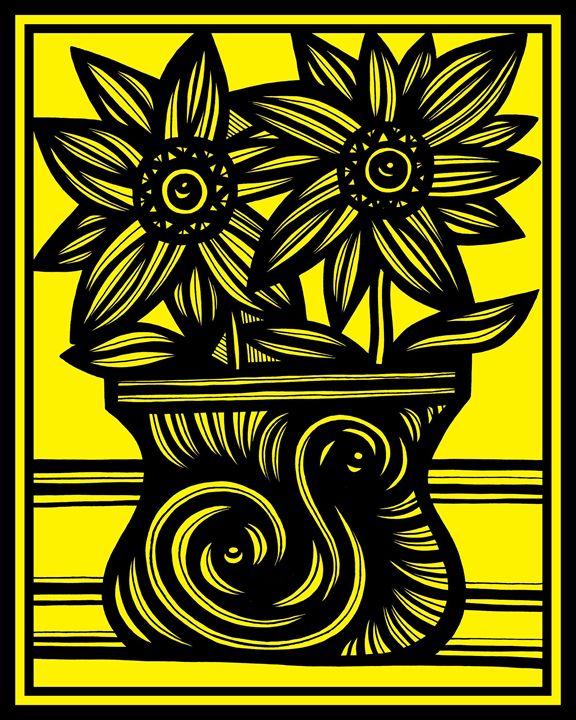 Millennium Flowers Yellow Black - 631 Art