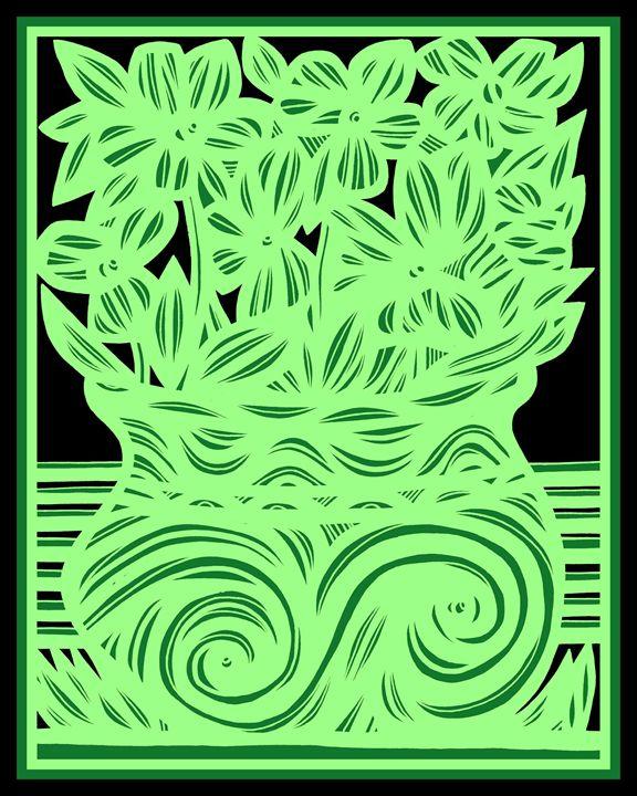 Odalisque Flowers Green Black - 631 Art