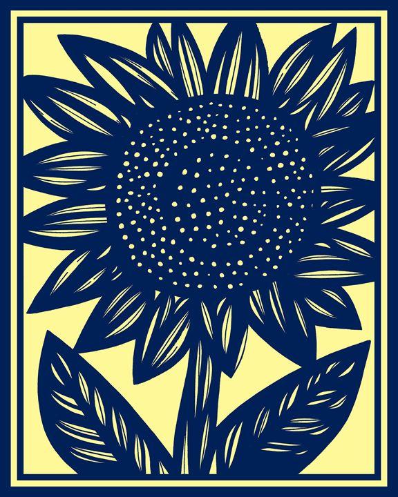 Callipygous Sunflower Yellow Blue - 631 Art