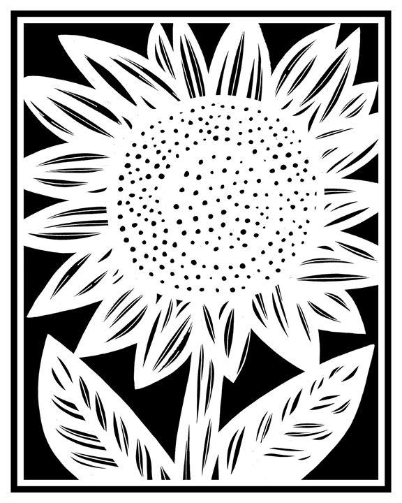 Acquiesce Sunflower Black and White - 631 Art