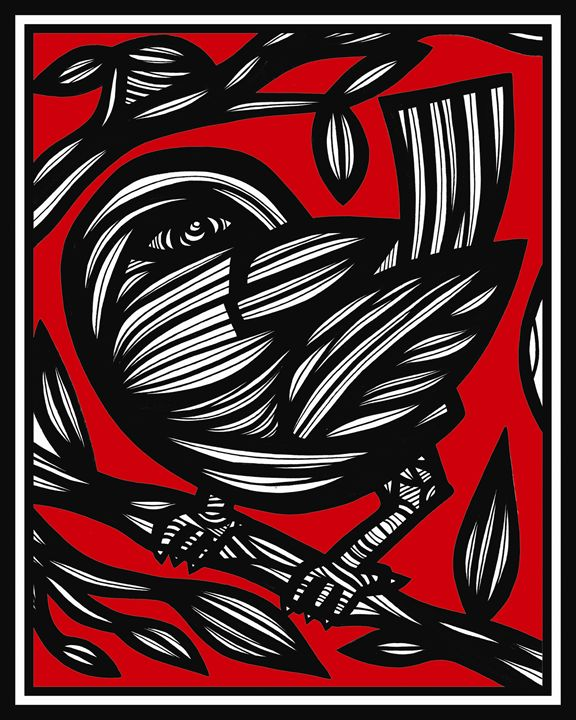 Yelvington Bird Red White Black - 631 Art