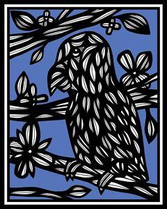 Nest Parrot Blue White Black
