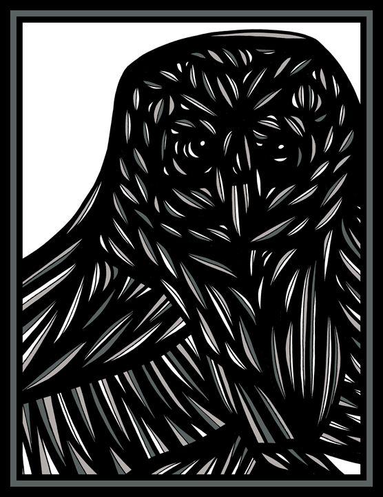 Harbinger Owl Grey Black White - 631 Art