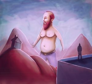 Fat Giant Red Bearded Man