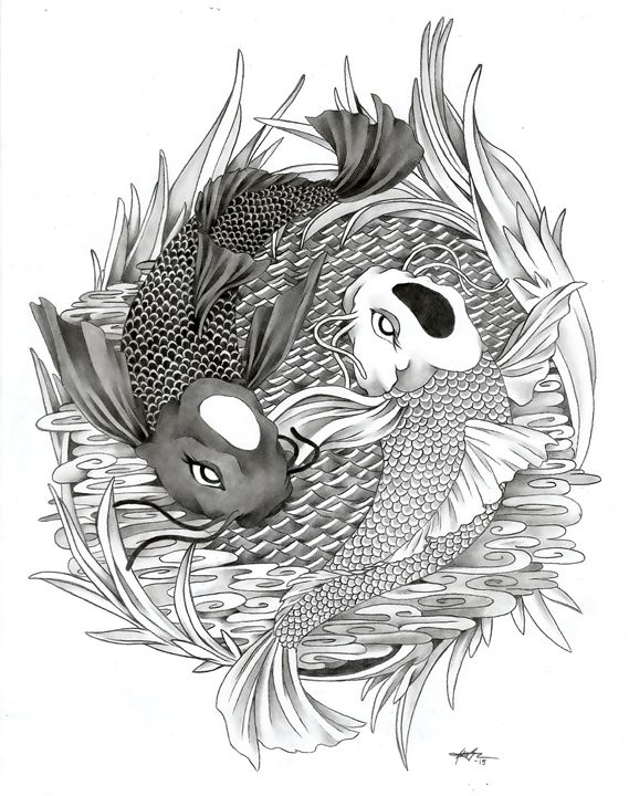 1506 yin yang koi fish ginnungagap tattoo designs drawings illustration animals birds. Black Bedroom Furniture Sets. Home Design Ideas