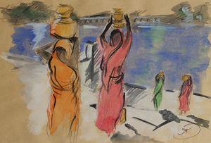 Women carrying water from Pushkar La