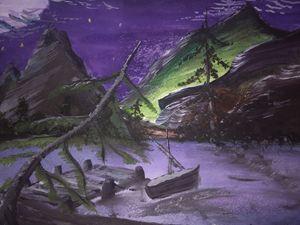 Midnight Lake Scape