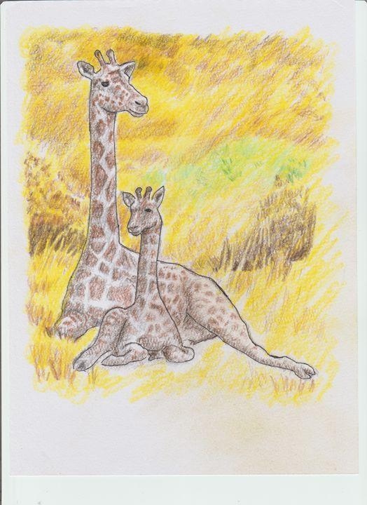 Giraffe With Young - Ernie Westfall