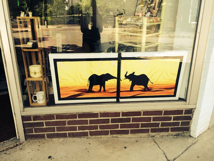 Elephant silhouette - Triptych paintings
