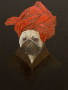 Portrait of a Pug in a Red Turban