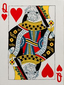 Queen of hearts. Pug. Playing card - WombArt
