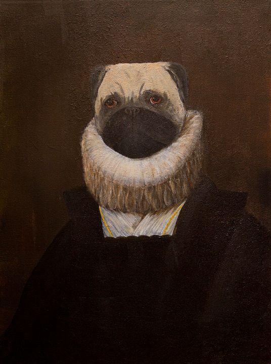 Portrait of Infanta Pugella. Pug Dog - WombArt