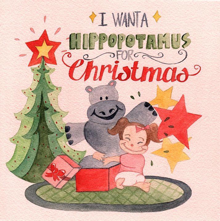 Hippopotamus for Christmas - Bluebells & Butterflies