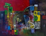 Abstract composition in yellow, red,