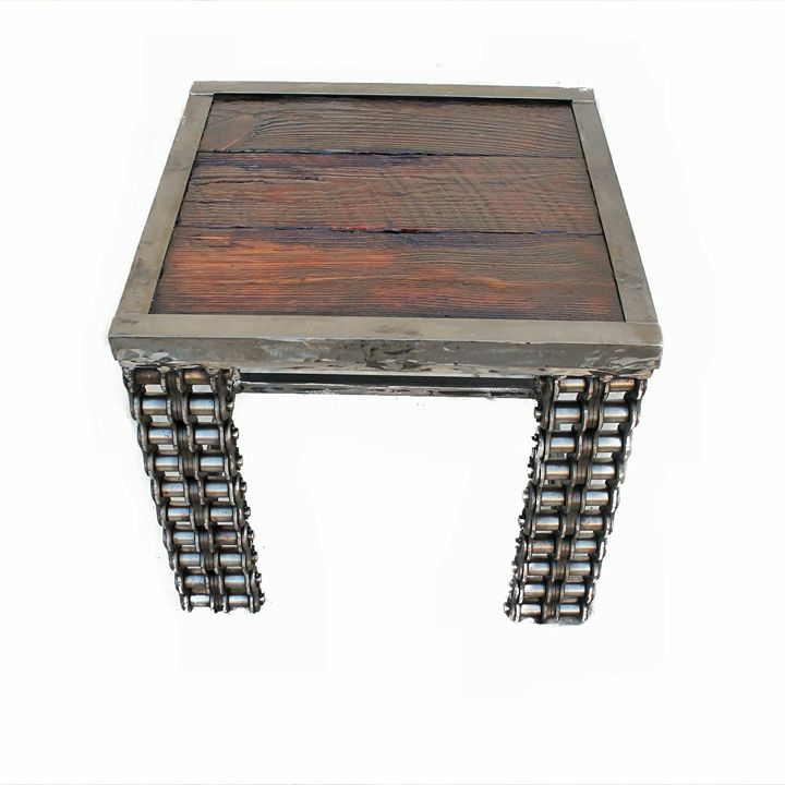 Wood Metal Furniture End Table - Raymond Guest Metal Art at Recycled Salvage Design