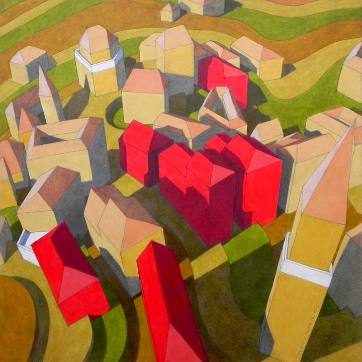 virtual model with red houses - federico cortese