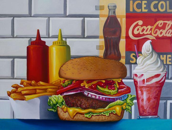 Still life cheeseburger fries - OlivierArts