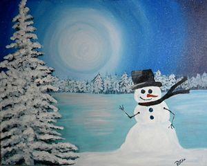 Snowman on Frozen Lake