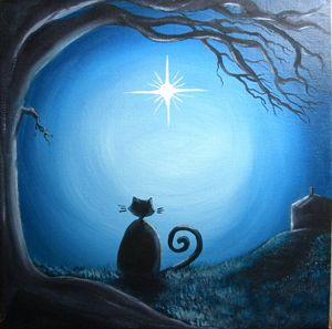 Christmas Star Black Cat
