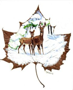 Deer In Snow Leaf Painting