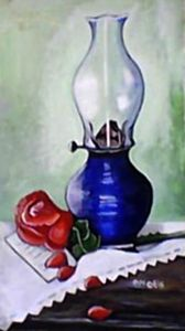 Oil Lamp and Rose