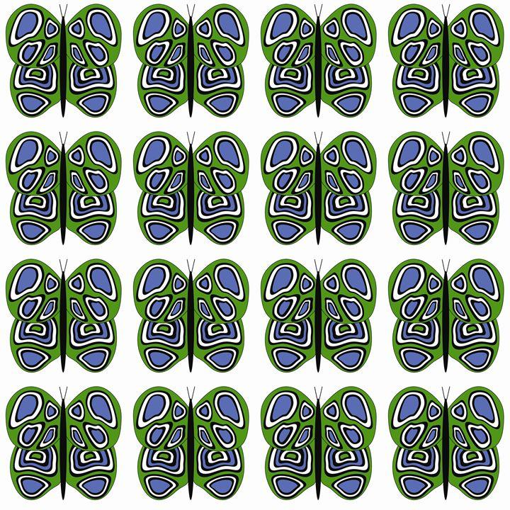 Green-Blue-White Med Butterflies - Laura Nybeck's Art