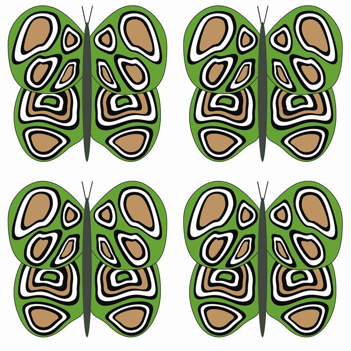 Green-Brown-White Lg Butterflies - Laura Nybeck's Art