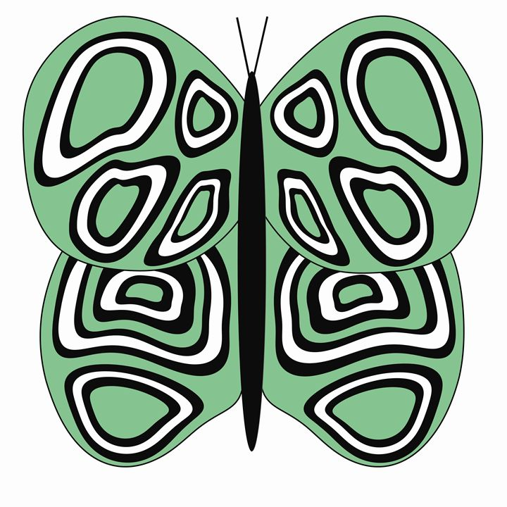 Green and White Butterfly - Laura Nybeck's Art