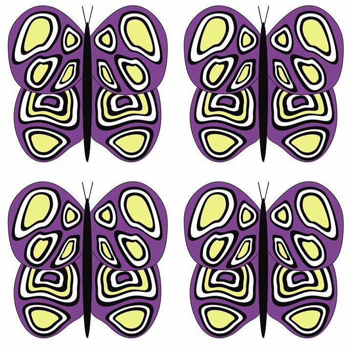 Purple-Yellow-White Lg Butterflies - Laura Nybeck's Art