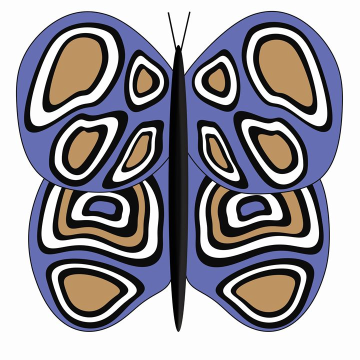 Blue, Tan and White Butterfly - Laura Nybeck's Art